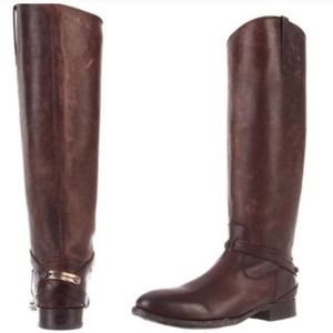 Frye Knee-High Lindsay Plate Riding Boots in Fawn